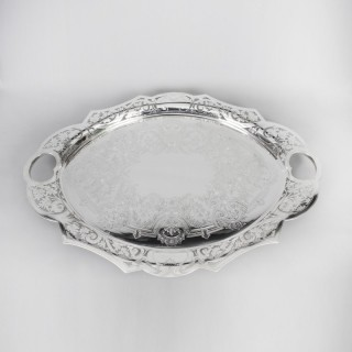 Antique Oval Victorian Silver Plated Tray by James Dixon C 1880 19th Century