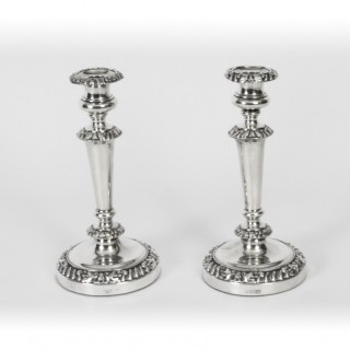 Antique Pair Old Sheffield Silver Plated Candlesticks Circa 1820 19th C