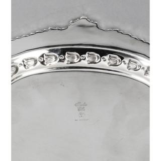 Antique English Victorian Silver Plated Salver Barker Ellis 19th Century