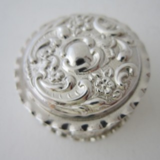 Antique Edwardian Sterling Silver Pill Box - 1902