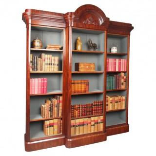 Antique Victorian Mahogany Open Breakfront Bookcase