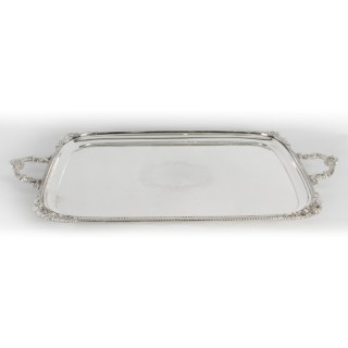 Antique Large English Silver Plated Twin Handled Tray Walker & Hall C1860