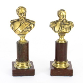 Antique Pair French Grand Tour Bronze Military Pedestal Busts 19th C
