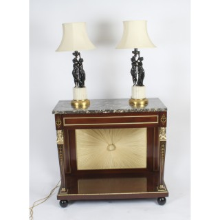 Antique Pair French Bronze Bacchantes Marble Table Lamps Circa 19th Century