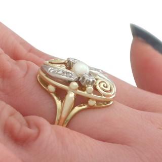 0.27 ct Diamond and Pearl, 14 ct Yellow Gold Dress Ring - Vintage Circa 1940