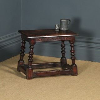 Antique English Carolean Style Oak Joint Stool / Side / Lamp Table (Circa 1780 - 1800)