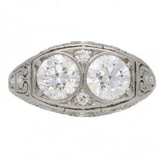 Bailey, Banks and Biddle two stone diamond ring, American, circa 1925.