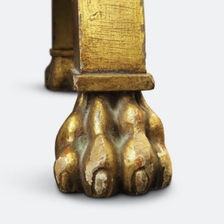 Pair of French Neoclassical Gilded Stools with Lion Paws