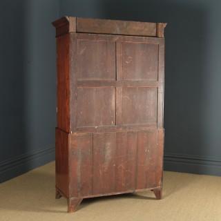 Antique English Georgian Regency Figured Mahogany Inlaid Linen Press Chest Wardrobe (Circa 1820)