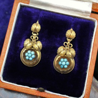 A fine pair of Victorian Foliate Drop Turquoise Earrings in High Carat Yellow Gold, English, Circa 1870