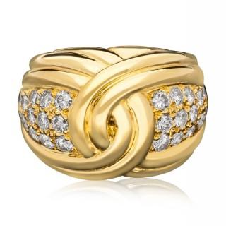 Van Cleef & Arpels -Vintage 18ct Yellow Gold & Pavé  Diamond Bombe Ring circa 1969