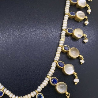 Moonstone Sapphire and Pearl Necklet