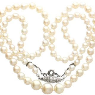 Single Strand Natural Pearl Necklace with 0.30ct Diamond Set Clasp - Antique Circa 1930