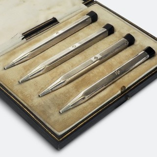 Set of Four Cased Swiss Sterling Silver Bridge Pencils Circa 1920