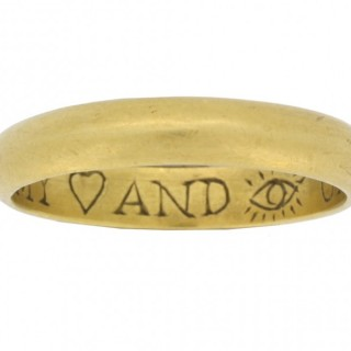 Gold posy ring 'My heart and eye until I die', circa 18th century.