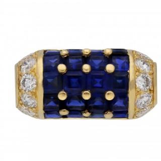 Vintage Oscar Heyman Brothers sapphire and diamond cocktail ring, American, circa 1960.
