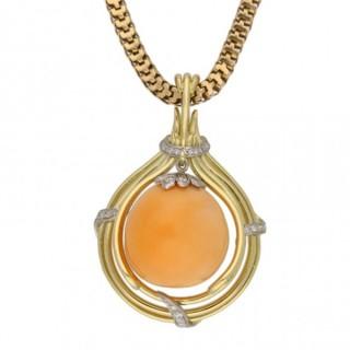 Vintage Melo pearl and diamond pendant, circa 1950.