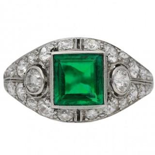 Art Deco Colombian emerald and diamond bombé ring, American, circa 1930.