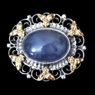 A Bernard Instone gold, silver and agate brooch