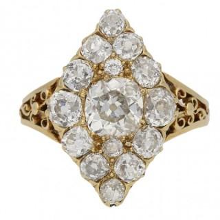 Antique marquise shape diamond ring, circa 1860.