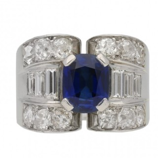 Mauboussin sapphire and diamond ring, French, circa 1947.