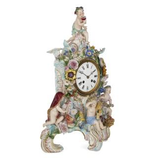 German Rococo style three-piece porcelain clock set by Meissen