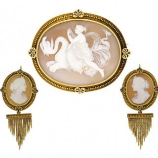 John Brogden shell cameo brooch and earrings, English, circa 1870.
