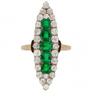 Antique emerald and diamond marquise cluster ring, circa 1900.