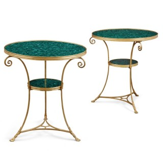 Two French malachite and gilt bronze circular side tables