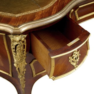 Rococo style writing desk mounted with gilt bronze