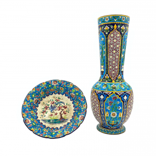 LONGWY FAIENCE ENAMELLED PLATE AND VASE