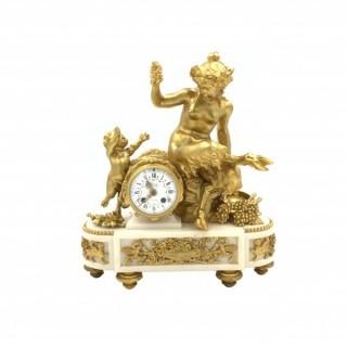 LOUIS XVI STYLE GILT-BRONZE AND WHITE MARBLE CLOCK, FRANÇOIS LINKE, FRANCE, LATE 19TH CENTURY
