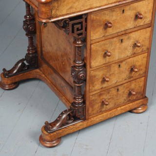 Antique Mid-Victorian Burr Walnut Davenport Desk