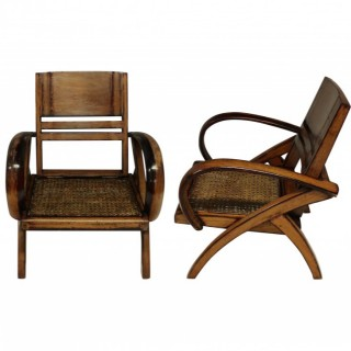 A PAIR OF FRENCH COLONIAL PLANTER CHAIRS