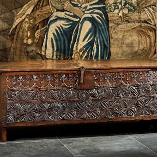 Henry VII boarded oak chest