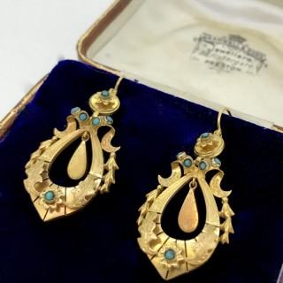 Victorian 15ct Gold Long Drop Earrings