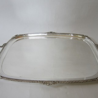 Large Antique Edwardian Sterling Silver Tray - 1906