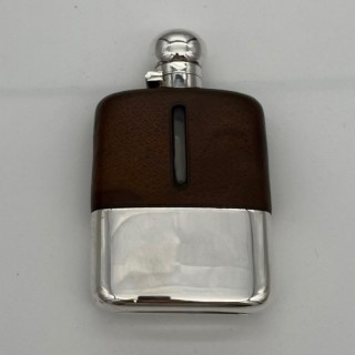 20th Century Modern Sterling Silver & Glass Hip Flask Sheffield 1937 James Dixon & Sons