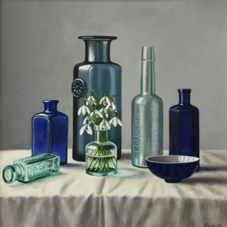Glass Bottle with Snowdrops