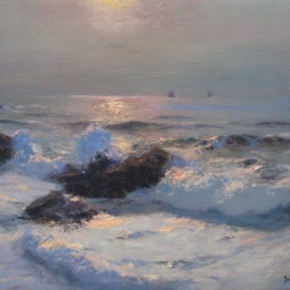 The Coast in the Moonlight  by  Julius Olsson (1864 – 1942)