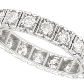 1.62ct Diamond and 18ct White Gold Full Eternity Ring - Vintage French Circa 1940