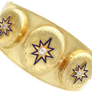 0.49 ct Diamond and 18 ct Yellow Gold Triple-Locket Bangle - Antique Circa 1880