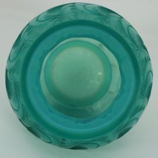 Rene Lalique Opalescent Mint Coloured Glass 'Le Mans' Vase