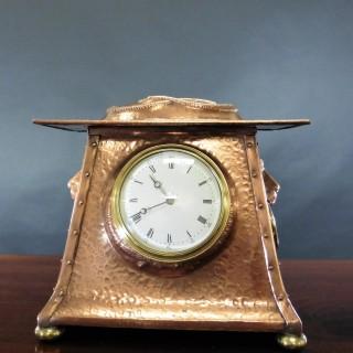 Arts and Crafts Copper Mantel Clock