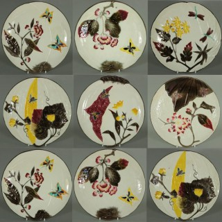Set of 11 Wedgwood Majolica Bee & Butterfly Plates