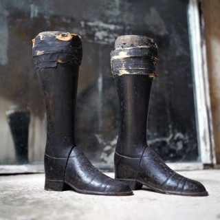 A Pair of 19thC French Black Painted Pine Mannequin Legs