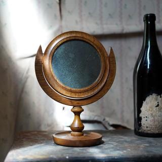 A William IV/Early Victorian Golden Oak Shaving Mirror c.1830-40