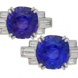 Colour change Ceylon sapphire and diamond ring, English, circa 1930.