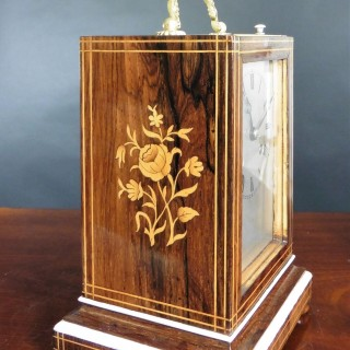 French Rosewood Campaign Mantel Clock