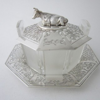 Antique Victorian Sterling Silver & Glass Butter Dish - 1852